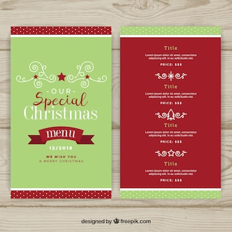 Retro christmas menu template