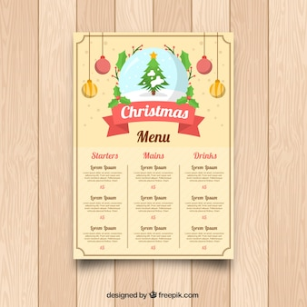 Retro christmas menu with christmas tree
