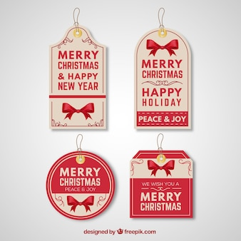 Retro christmas and new year tags pack