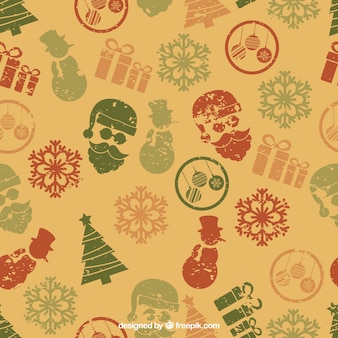 Retro christmas pattern in stamped style