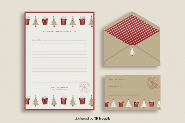 Retro christmas stationery template