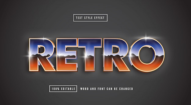 Retro chrome text effect editable