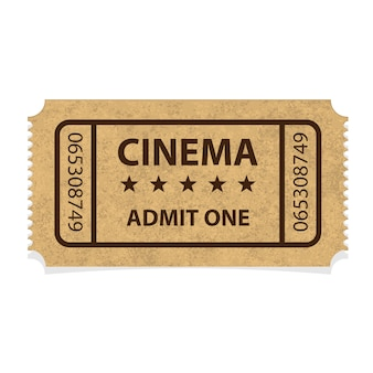 Retro cinema cardboard ticket on white background