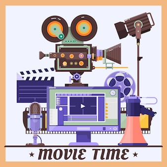 Retro cinema concept poster with megaphone, lamp, microphone,monitor,camcorder,realistic detailed vector illustration