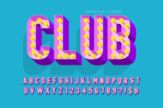 레트로 영화 글꼴, 카바레, 램프 문자 및 숫자. 견본 색상 제어 프리미엄 벡터