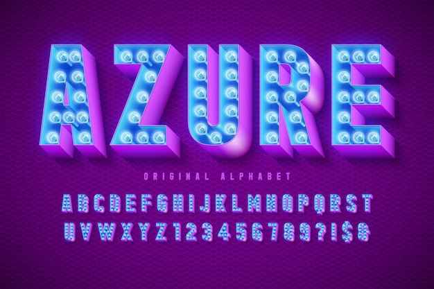 Retro cinema font , cabaret, lamps letters and numbers. swatches color control