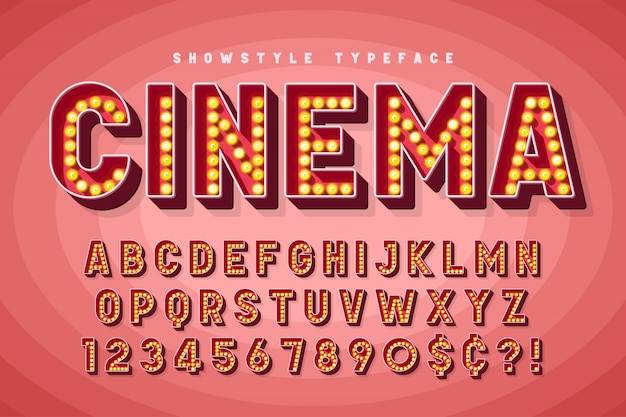 Retro cinema font design, cabaret, broadway letters