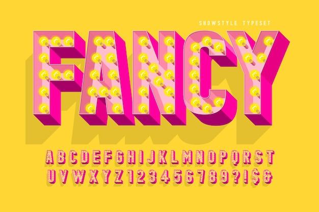 레트로 영화 글꼴 디자인, 카바레, 램프 문자 및 숫자. 견본 색상 제어