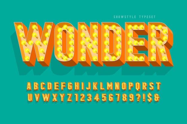 레트로 영화 글꼴 디자인, 카바레, 램프 문자 및 숫자.