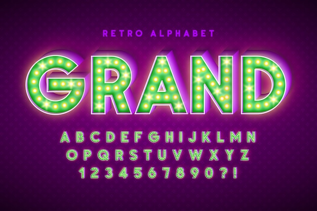 Retro cinema font design, cabaret, led lamps letters