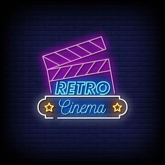 Retro cinema neon signs style text