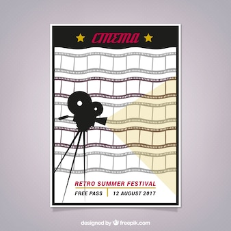 Retro cinema poster with frames and camera