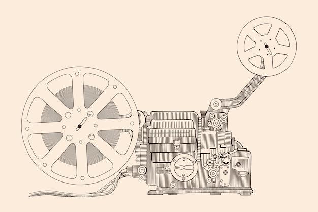 스크린에 영화를 보여주는 레트로 시네마 프로젝터