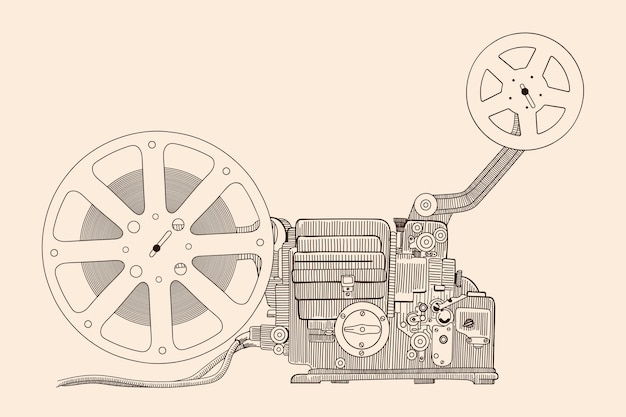 Retro cinema projector for showing the film on the screen