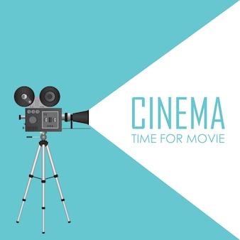 レトロなシネマプロジェクター。映画イラストの時間