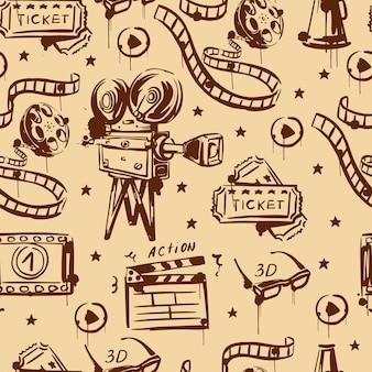 Retro cinema seamless pattern retro video camera tickets 3d glasses