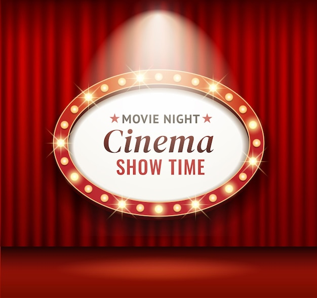 Retro cinema or theater frame
