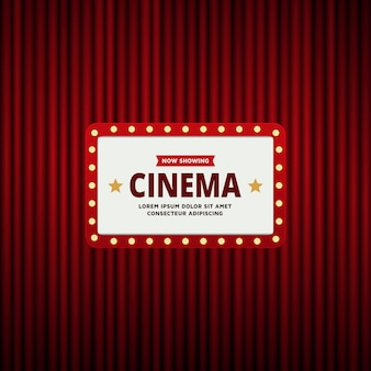 Retro cinema theatre frame and red curtain background