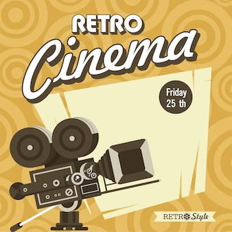 Retro cinema. vintage film camera. poster in vintage style with place for text.