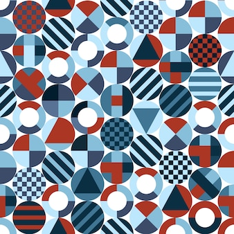 Retro circles with geometric shapes