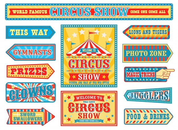 Retro circus badges, carnival signs