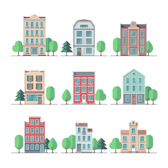 Retro city houses. vintage apartment buildings vector set. building house and home, city apartment street illustration