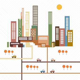 Retro city landsacape in vintage colors white background