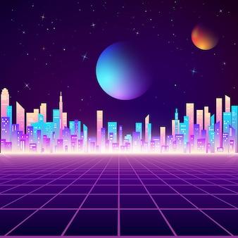 Retro city landscape in neon colors