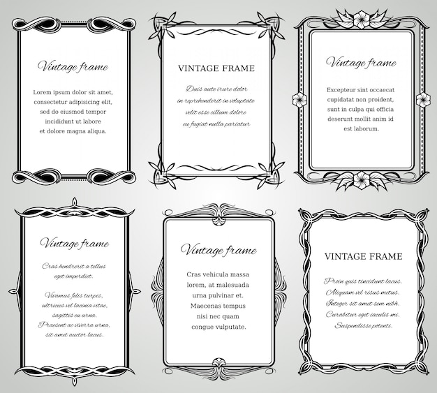 Retro classic borders and calligraphic old wedding photo frames collection.