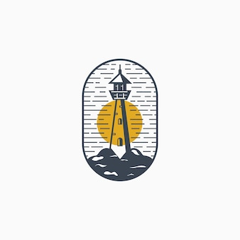 Retro classic vintage lighthouse logo design template   illustration