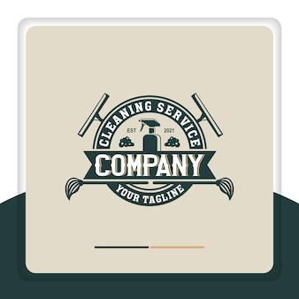 Retro cleaning logo design vector glass cleaner spray cleaner emblem label vintage style