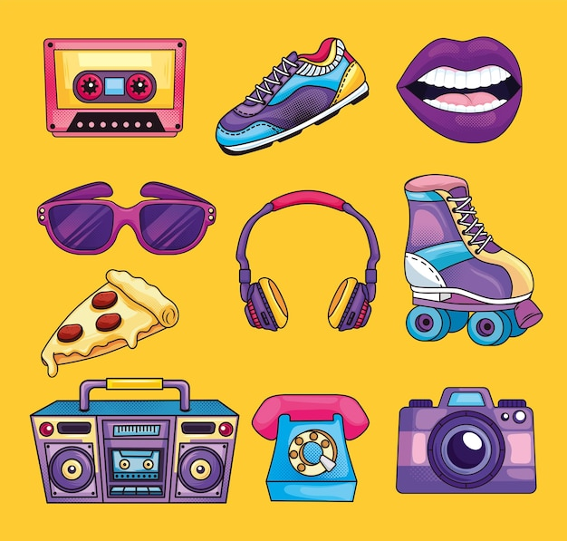 Ретро-клипарт в стиле 80-х.