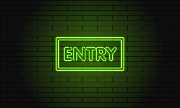 Retro club neon inscription entry.