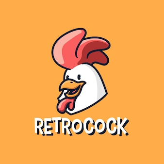 Retro cock rooster chicken mascot logo icon illustration