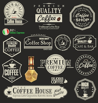 Retro coffee badges and labels