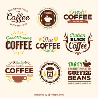 vintage coffee house badges vector free download