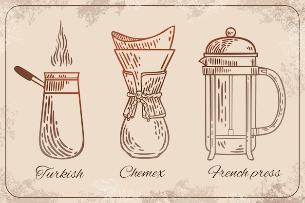 Коллекция ретро-методов приготовления кофе