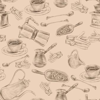 Retro coffee set seamless pattern