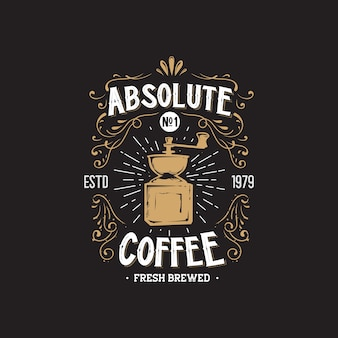 Retro coffee shop hand drawing logo