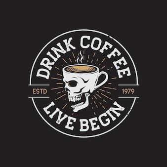 Ретро кофейня рука рисунок логотип