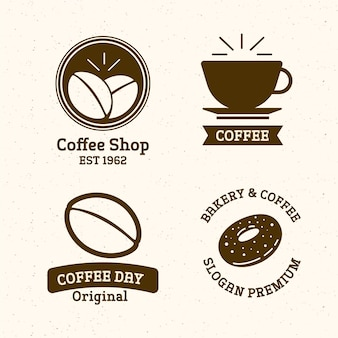 Retro coffee shop logo set