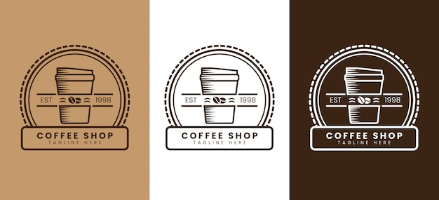 Retro coffee shop logo template