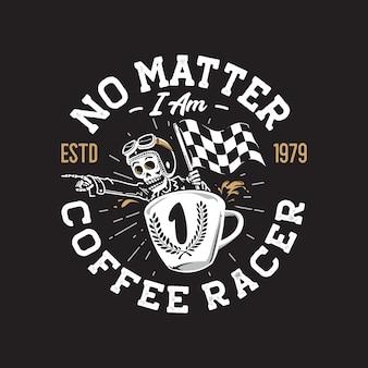 Логотип гонщика ретро кафе