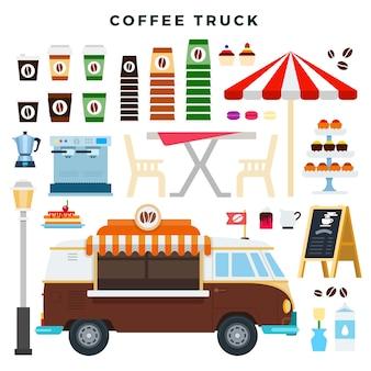 Ретро кофейный грузовик и элементы уличного кафе