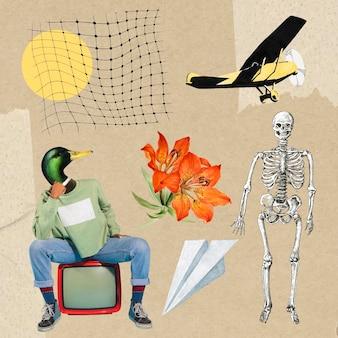 Retro collage aesthetic element set, vector illustration collage mixed media art