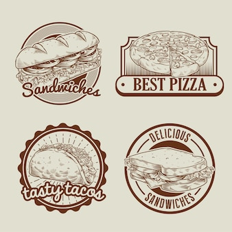 Retro collection of fast food badge