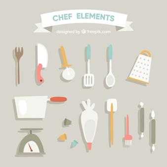 平らなデザインの台所用品のレトロなコレクション
