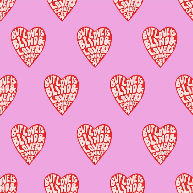 Retro color calligraphy with heart pop art illustration seamless repeat pattern digital artwork