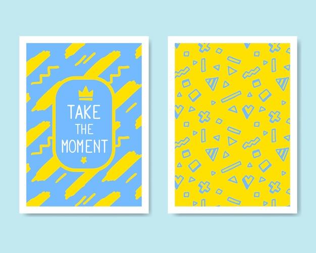 레트로 컬러 디자인. 배너, 전단지, 현수막, 브로셔 및 포스터에 대 한 손으로 그린 추상 현대적인 스타일 템플릿 컬렉션