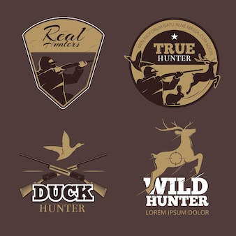 Retro color hunting labels set. hunter wild, vintage emblem, aiming and duck, vector illustration